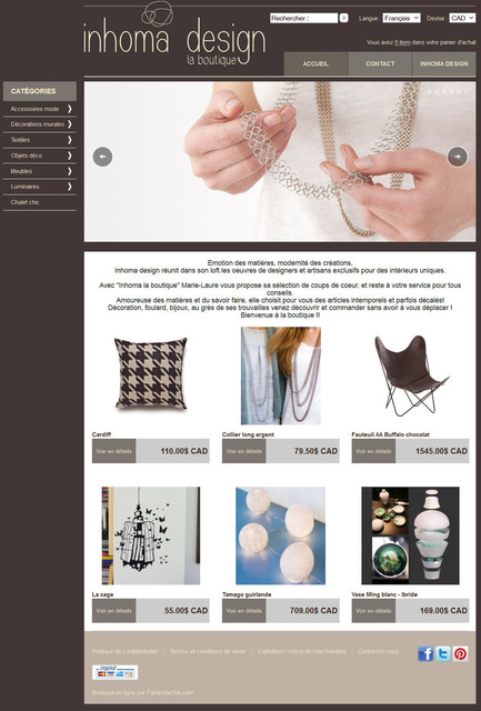 Press kit | 1074-06 - Press release | Inhoma Design's online shop is opening! - Inhoma Design - Event + Exhibition -         Inhoma design - La Boutique