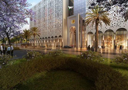 Press kit | 1188-03 - Press release | New Algerian Parliament - Bureau Architecture Méditerranée - Institutional Architecture -  People's National Assembly - Republic of Algeria<br>View from the entrance of honor<br>  - Photo credit: Bureau Architecture Méditerranée