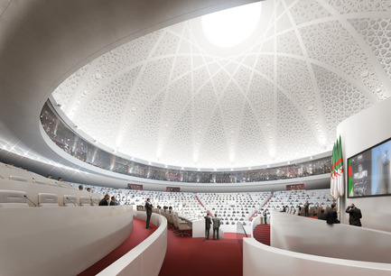 Press kit | 1188-03 - Press release | New Algerian Parliament - Bureau Architecture Méditerranée - Institutional Architecture -  People's National Assembly - Republic of Algeria<br>View of the chamber  - Photo credit: Bureau Architecture Méditerranée