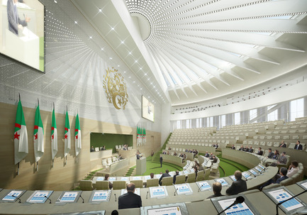 Press kit | 1188-03 - Press release | New Algerian Parliament - Bureau Architecture Méditerranée - Institutional Architecture - Nation Council - Senate of the Republic of Algeria<br>View of the chamber<br> - Photo credit: Bureau Architecture Méditerranée