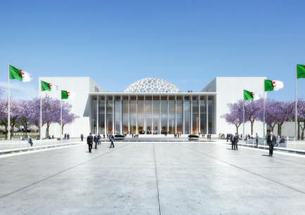 Press kit | 1188-03 - Press release | New Algerian Parliament - Bureau Architecture Méditerranée - Institutional Architecture - Congress of the Republic of Algeria <br>Perspective view from the courtyard - Photo credit: Bureau Architecture Méditerranée