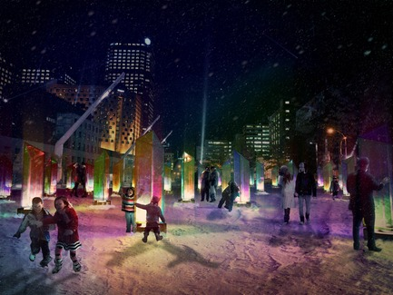 Dossier de presse | 562-48 - Communiqué de presse | Luminothérapie Competition: And the winners for 2014-2015 are... - Bureau du design - Ville de Montréal - Urban Design - Prismatica  - night perspective - Crédit photo : Raw Design