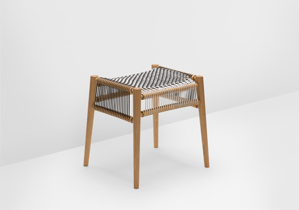 Press kit | 1539-01 - Press release | Loom Collection by H: Inspired by Mexican Tradition - H - Industrial Design -  Loom Stool<br>H: 48cm; W: 52cm; D: 45cm<br>Oak, Black and White Cords<br>Designer: Hierve - Photo credit: Peter Guenzel