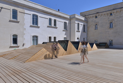 Press kit | 924-02 - Press release | Vincent van Gogh Foundation  Rehabilitation, extension. - Fluor Architecture - Institutional Architecture - Sheds on the wood deck - Photo credit: ©Hervé Hôte