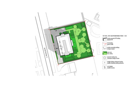 Press kit | 1139-03 - Press release | Foundation for Polish Science Headquarters - FAAB Architektura  - Commercial Architecture - Site plan 1:500 - Photo credit: © FAAB Architektura