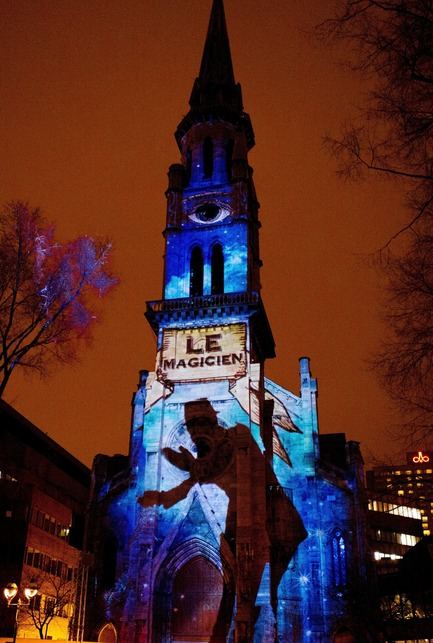 Press kit | 562-52 - Press release | Luminothérapie: interactive and digital public art illuminate winter in Montreal's Quartier des Spectacles - Bureau du design - Ville de Montréal - Urban Design - Fascinoscope by Lüz Studio - UQAM Bell Tower - Photo credit: Cindy Boyce