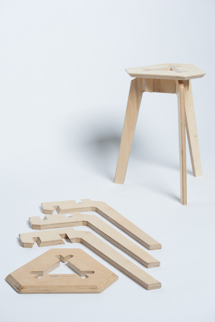 Press kit | 884-04 - Press release | HEC Project 2014 Edition - Faculté d'aménagement de l'Université de Montréal - Industrial Design -  Trois<br><br>Trois is a mountable stool that can easily be disassembled. Made up of 4 pieces of plywood that fit together perfectly, no hardware is necessary to hold the structure in place. Its straight forward and refined aesthetic stems from its simplified mecanism of assembly.<br><br>François Corriveau<br>Léo Gaudreault Arsenault<br>Jérôme Laurendeau-Rivard<br>  - Photo credit: Olivier Ouimet 2014 - www.olivierouimet.com