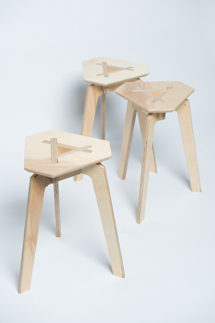 Press kit | 884-04 - Press release | HEC Project 2014 Edition - Faculté d'aménagement de l'Université de Montréal - Industrial Design -  Trois<br><br>Trois  is a mountable stool that can easily be disassembled. Made up of 4  pieces of plywood that fit together perfectly, no hardware is necessary  to hold the structure in place. Its straight forward and refined  aesthetic stems from its simplified mecanism of assembly.<br><br>François Corriveau<br>Léo Gaudreault Arsenault<br>Jérôme Laurendeau-Rivard - Photo credit: Olivier Ouimet 2014 - www.olivierouimet.com