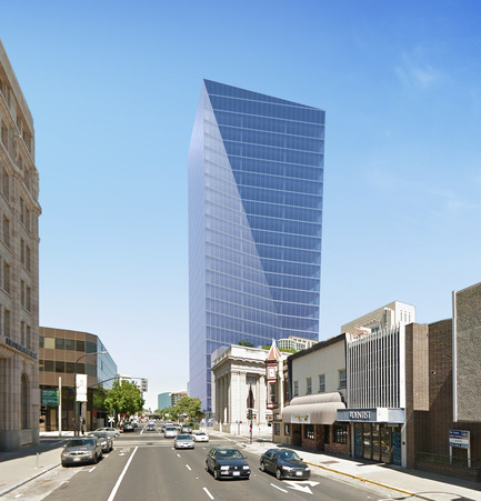 Press kit | 1204-02 - Press release | Pei Cobb Freed & Partners Designs an Iconic Tower for Downtown Sacramento - Pei Cobb Freed & Partners Architects LLP - Commercial Architecture - View looking west along J Street - Photo credit: Pei Cobb Freed & Partners
