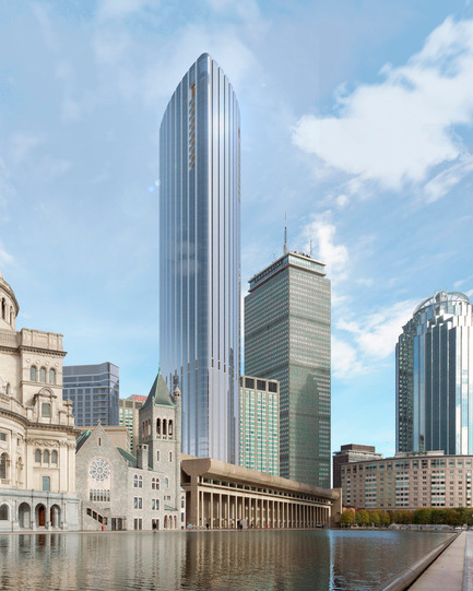 Press kit | 1204-03 - Press release | Boston's Tallest Residential Building, Designed by Pei Cobb Freed & Partners, Breaks Ground - Pei Cobb Freed & Partners - Residential Architecture - View from Christian Science Plaza - Photo credit:  Pei Cobb Freed & Partners, Cambridge Seven Associates