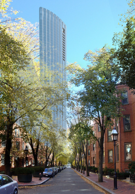 Press kit | 1204-03 - Press release | Boston's Tallest Residential Building, Designed by Pei Cobb Freed & Partners, Breaks Ground - Pei Cobb Freed & Partners - Residential Architecture -  View east along St. Germain Street  - Photo credit:  Pei Cobb Freed & Partners, Cambridge Seven Associates