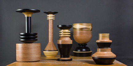 Press kit | 1604-01 - Press release | Design Days Dubai 2015 - Gallery Announcement - Design Days Dubai - Event + Exhibition - Simone Brewster tropical noir turned wood vessels height ranges from 42 cm - 86 cm  - Photo credit: Courtesy of Crafts Council