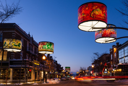 Press kit | 621-19 - Press release | Giant Lampshades Create Spectacular Urban Lighting in Quebec City - Lightemotion - Lighting Design - Avenue Cartier - Quebec City  - Photo credit:  Patrick mevel photographe