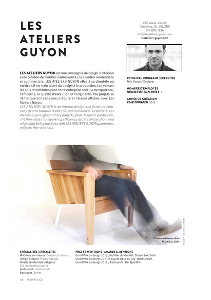 Press kit | 611-17 - Press release | Index-design launches the 6th edition of the Guide – 200 interior designers from Quebec - Index-Design - Edition - Les Ateliers Guyon - 4 Pages Portfolio - Photo credit: Index_design