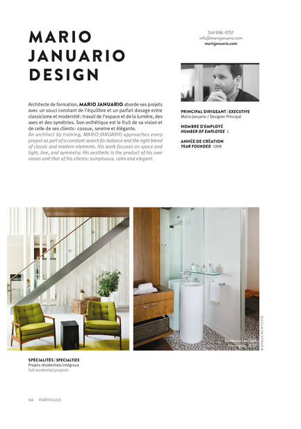Dossier de presse | 611-17 - Communiqué de presse | Index-design lance la 6eédition du Guide - 200 designers d'intérieur au Québec - Index-Design - Édition - Mario Januario - Portfolio 2 Pages - Crédit photo : Index_design