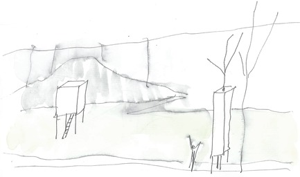 Press kit | 837-12 - Press release | THE WHITE ROOMS  by architect Pierre Thibault at Les Jardins de Métis / Reford Gardens - International Garden Festival - Event + Exhibition - Sketch by Pierre Thibault - Photo credit: Atelier Pierre Thibault