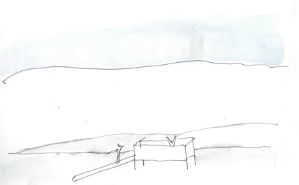 Press kit | 837-12 - Press release | THE WHITE ROOMS  by architect Pierre Thibault at Les Jardins de Métis / Reford Gardens - International Garden Festival - Event + Exhibition - Sketch by Pierre Thibault. - Photo credit: Atelier Pierre Thibault