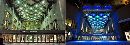 Press kit | 621-20 - Press release | A Dynamic NewLighting Signature for Complexe Desjardins - Lightemotion - Lighting Design - Complexe Desjardins - Before and After - Entrance to Retail Concourse - Photo credit: LIghtemotion