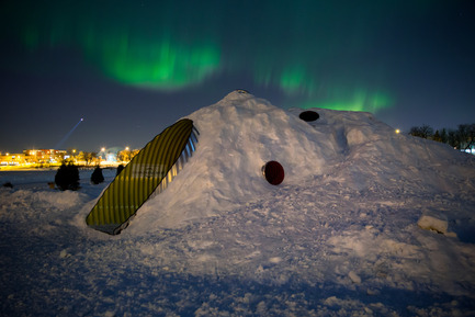 Press kit | 1600-02 - Press release | The Hole Idea wins OAA Award - Weiss Architecture & Urbanism Limited - Competition - Night View With Northern Lights - Photo credit: Leif Norman