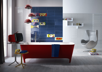 Press kit | 1606-01 - Press release | A new tile collection inspired by the Pop Art of Roy Lichtenstein - Ceratec - Product - Bathroom - Tiles showned: POP F & W, Cool F and Cartoon mix   - Photo credit:  POP Series By Ceratec