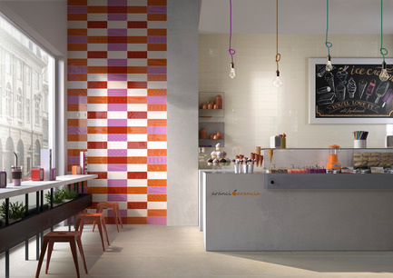Press kit | 1606-01 - Press release | A new tile collection inspired by the Pop Art of Roy Lichtenstein - Ceratec - Product - Commercial - Tiles showned: Cool B, DM, O & R and POP B, DM, O & R  - Photo credit:  POP Series By Ceratec