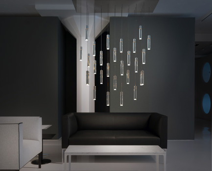 Press kit | 1615-01 - Press release | Canadian Lighting Company Archilume Unveils New LED Chandeliers at  ICFF, May 16-19, 2015 - Archilume - Lighting Design -  Archilume's New 'P28' Chandelier<br>  - Photo credit:  Cat Segovia Photography