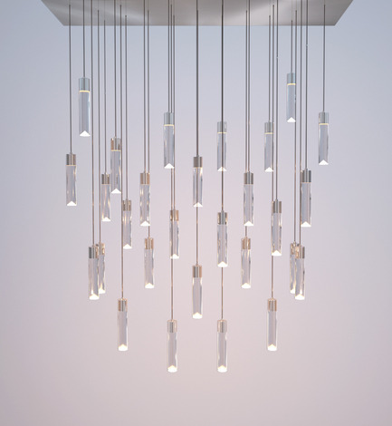 Press kit | 1615-01 - Press release | Canadian Lighting Company Archilume Unveils New LED Chandeliers at  ICFF, May 16-19, 2015 - Archilume - Lighting Design - Archilume's New 'P28' Chandelier - Photo credit: Archilume