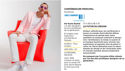 Press kit | 673-11 - Press release | DESIGN SHOW: Seminars and VIP Evening - Agence PID - Event + Exhibition - Conférence de Karim Rashid_Conférencier principal - Photo credit:  Agence PID SALON DU DESIGN 2015