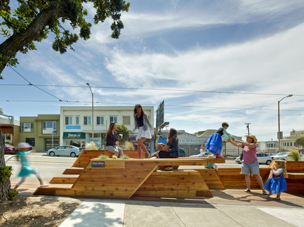 Press kit | 1187-03 - Press release | Announcing AIA San Francisco 2015 Design Awards winners - American Institute of Architects, San Francisco Chapter (AIA SF) - Competition - Sunset Parklet by INTERSTICE Architects Inc. - Photo credit: Cesar Rubio Photography