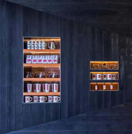 Press kit | 1771-01 - Press release | Coffee Bar Revitalizes Area - jones | haydu - Commercial Architecture - Detail at display shelving - Photo credit: Art Gray