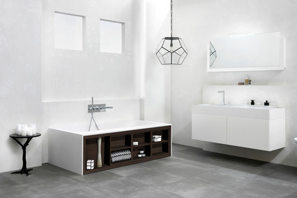 Press kit | 846-16 - Press release | Ceragres acquires Montréal-Les-Bains - Ceragres - Product -         Bath: Amanpuri Series / Blu-Stone — Furniture: Serie 1400 / Blu-Stone - Photo credit: Blu Bathworks