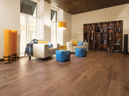 Press kit | 1639-02 - Press release | The Imagine Collection from Mirage: designed to help hiding the marks and scuff of daily use - Mirage Hardwood Floors - Residential Interior Design -  Old Red Oak Tree Bark, Distressed Look<br>  - Photo credit: Mirage Hardwood Floors