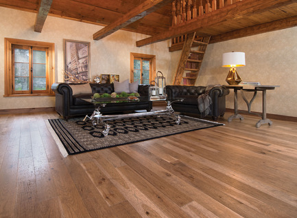 Press kit | 1639-02 - Press release | The Imagine Collection from Mirage: designed to help hiding the marks and scuff of daily use - Mirage Hardwood Floors - Residential Interior Design -  Old Hickory Tree Bark, Distressed Look  - Photo credit: Mirage Hardwood Floors