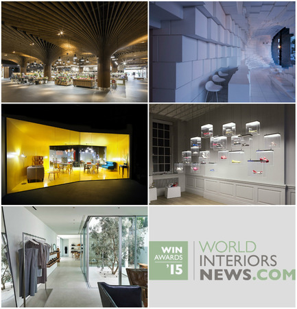 Press kit | 1124-06 - Press release | Shortlist announced for the World Interiors News Awards 2015 - World Interiors News - Commercial Interior Design - World Interiors News Awards 2015 <br>Retail Interiors Greater Than 200 SQ. M Category Shortlist <br><br>Top row, left to right: <br>   East Village Urban Marketplace by Koichi   Takada Architects<br>Unilux by SOMA<br><br>Middle row, left to right:<br>Made Soho by Bureau   de Change Architects<br>   Galeria Melissa by IDL<br><br>Bottom: <br>The Row by Montalba Architects, Inc.<br><br> - Photo credit: Various