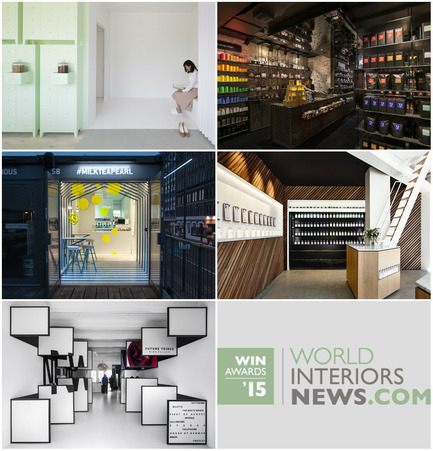 Press kit | 1124-06 - Press release | Shortlist announced for the World Interiors News Awards 2015 - World Interiors News - Commercial Interior Design - World Interiors News Awards 2015 <br>Retail Interiors Less Than 200 SQ. M Category Shortlist <br><br>Top row, left to right: <br>   SUMIYOSHIDO   kampo lounge, clinic for acupuncture and moxibustion by id<br>   T2 Shoreditch by Landini Associates<br><br>Middle row, left to right: <br>   Milk Tea & Pearl by Y A O<br>   Greene Street Juice Co. by Travis   Walton Architecture<br><br>Bottom row: <br>shop 03 by i29 interior architects - Photo credit: Various