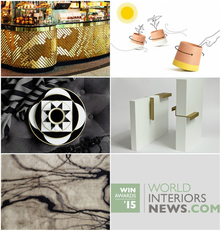Press kit | 1124-06 - Press release | Shortlist announced for the World Interiors News Awards 2015 - World Interiors News - Commercial Interior Design - World Interiors News Awards 2015 <br>Surface & Interior Access ategory Shortlist <br><br>Top row, left to right: <br>   Harper Tile - Butlers Chocolate   Café by Giles Miller Studio<br>   Voltasol - the rolling flower pot by Studio BAG Disseny <br><br>Middle row, left to right: <br>   MY CHINA! Ca' d'Oro   from SIEGER by FÜRSTENBERG by sieger design GmbH   & Co. KG<br>   PULL   HANDLE by RUSSIAN FOR FISH<br><br>Bottom row: <br>   Water collection of Hand   Knotted rugs by Tania Johnson Design <br> - Photo credit: Various