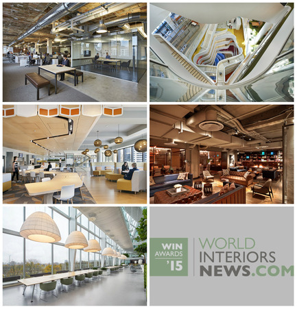 Press kit | 1124-06 - Press release | Shortlist announced for the World Interiors News Awards 2015 - World Interiors News - Commercial Interior Design - World Interiors News Awards 2015<br>Workspace Interiors Greater Than 10,000 SQ. M Category Shortlist <br><br>Top row, left to right: <br>   Havas / Arnold Worldwide   Boston Headquarters by    Sasaki   Associates, Inc. <br>Medibank Workplace by HASSELL<br><br>Middle row, left to right: <br>Westpac Melbourne by Geyer<br>   Neuehouse by Rockwell   Group<br><br>Bottom row: <br>   Deloitte and AKD / The Edge by Fokkema   & Partners Architecten<br> - Photo credit: Various