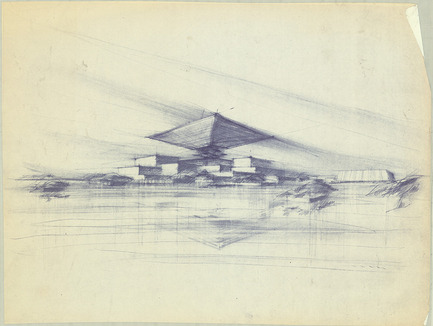 Press kit | 748-24 - Press release | Drawings by the renowned Canadian architect Arthur Erickson to be presented at the UQAM Centre de Design - Centre de design de l'UQAM - Event + Exhibition - Esquisse pour le Pavillon du Canada à Expo 67, Montréal, ca. 1964.  - Photo credit: Fonds Arthur Erickson, Canadian Architectural Archives, Université de Calgary.