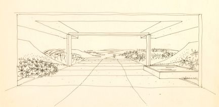 Press kit | 748-24 - Press release | Drawings by the renowned Canadian architect Arthur Erickson to be presented at the UQAM Centre de Design - Centre de design de l'UQAM - Event + Exhibition - Esquisse de la résidence Dyde, Edmonton, Alberta, 1964.  - Photo credit: Fonds Arthur Erickson, Canadian Architectural Archives, Université de Calgary.