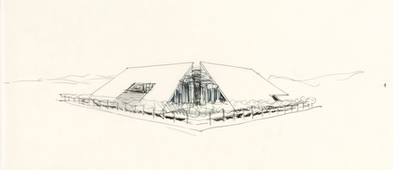 Dossier de presse | 748-24 - Communiqué de presse | Les dessins du grand architecte canadien Arthur Erickson présentés au Centre de design de l'UQAM - Centre de design de l'UQAM - Évènement + Exposition - Esquisse pour le Pavillon du Canada à Expo 70, Osaka, Japon, 1967.  - Crédit photo : Fonds Arthur Erickson, Canadian Architectural Archives, Université de Calgary.