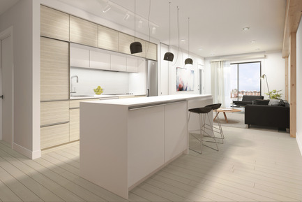 Press kit | 1867-01 - Press release | ARBORA takes root in Griffintown - LSR GesDev and Sotramont - Residential Architecture - Kitchen - Photo credit: Hùma Design
