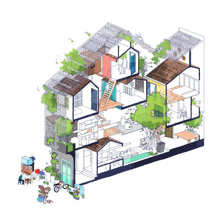 Press kit | 1256-01 - Press release | Saigon house - a21studĩo - Residential Architecture - Isometric drawing  - Photo credit: a21studio