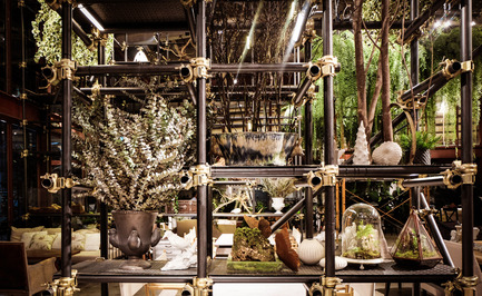 Press kit | 1972-01 - Press release | 'Vivarium' - A Tractor Warehouse Turned Restaurant by Hypothesis Won the INSIDE Award 2015 - Hypothesis - Commercial Interior Design - Scaffolding structures used as decorative shelves - Photo credit:  Hypothesis