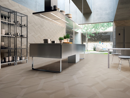 Press kit | 1177-03 - Press release | An incredible maze of ideas and creativity: Labyrinth by Giulio Iacchetti  - Ceramiche Refin S.p.A. - Product - Labyrinth Mirror Sand 60x60 - Photo credit: Ceramiche Refin S.p.A.