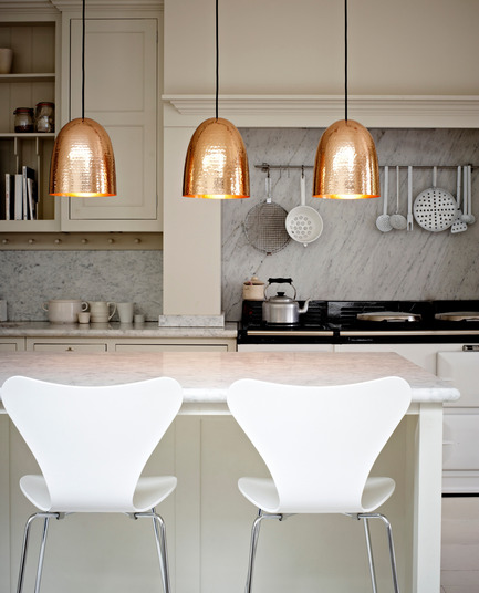 Press kit | 2023-01 - Press release | British lighting manufacturer Original BTC launches new collections for SS16 - Original BTC - Lighting Design -   Original BTC  Stanley pendants in hammered copper pendants www.originalbtc.com +207 351 2130   - Photo credit: Original BTC