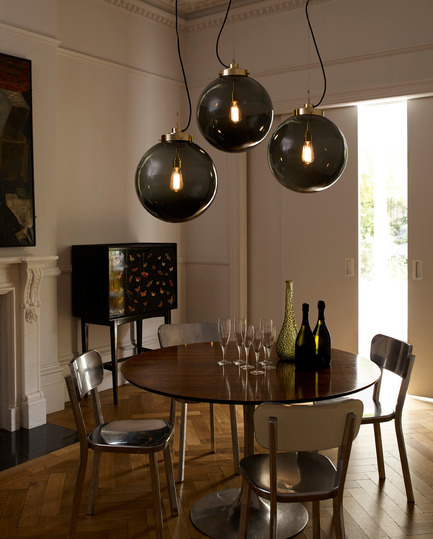 Press kit | 2023-01 - Press release | British lighting manufacturer Original BTC launches new collections for SS16 - Original BTC - Lighting Design -   Original BTC  Globe large pendants with anthracite glass  www.originalbtc.com +207 351 2130   - Photo credit: Original BTC
