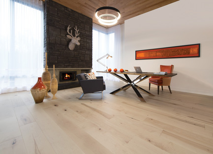 Press kit | 1639-03 - Press release | New Mirage Floors 2016— more magnificent than ever! - Mirage Hardwood Floors - Product - Maple Light Character, White Mist - Flair Collection - Photo credit:  Mirage Hardwood Floors