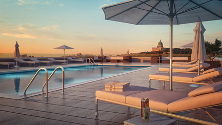 Press kit | 2056-01 - Press release | Unveiling Of The Brand New Beaumont Condominiums Project - DevMcGill - Real Estate - The rooftop terrace is a veritable oasis with his heated pool and sun lungers. Splendor as far as the eye can see! - Photo credit: Sébastien Gaudard - Vizual 3D