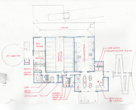 Press kit | 2039-01 - Press release | Titus Vineyards - MH Architects - Industrial Architecture - A hand-sketch of the Titus Winery building plan illustrates the integration of Hospitality and Production spaces in one unified composition.  Hospitality spaces cluster on the west face of the building to take advantage of the vineyard view while Production spaces face the nearby road to expedite the flow of winemaking. - Photo credit: MH Architects