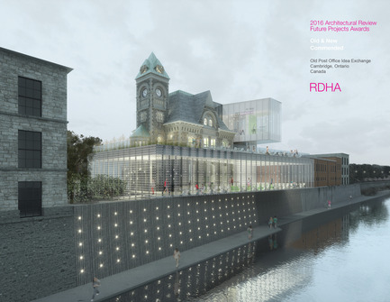 Press kit | 1070-02 - Press release | Old Post Office Idea Exchange - RDH Architects - Institutional Architecture - Rendered View Looking South Along River's Edge  - Photo credit: RDHA